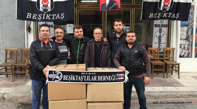 TOPLANAN YARDIM MALZEMELERİ GÖNDERİLDİ.